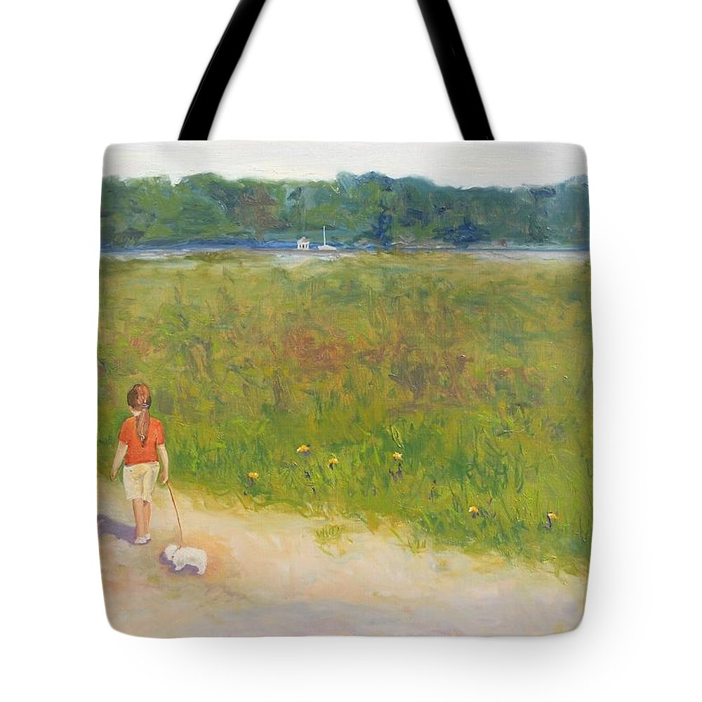 Girl Tote Bag featuring the painting Girl Walking Dog by Angela Inguaggiato