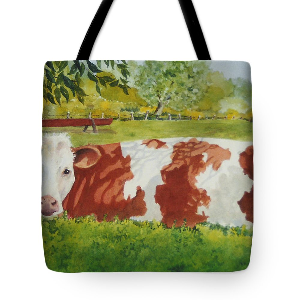 Cows Tote Bag featuring the painting Give Me Moooore Shade by Mary Ellen Mueller Legault