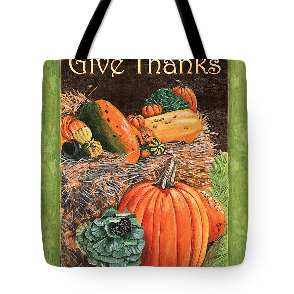 Thanksgiving Tote Bag featuring the painting Give Thanks by Debbie DeWitt
