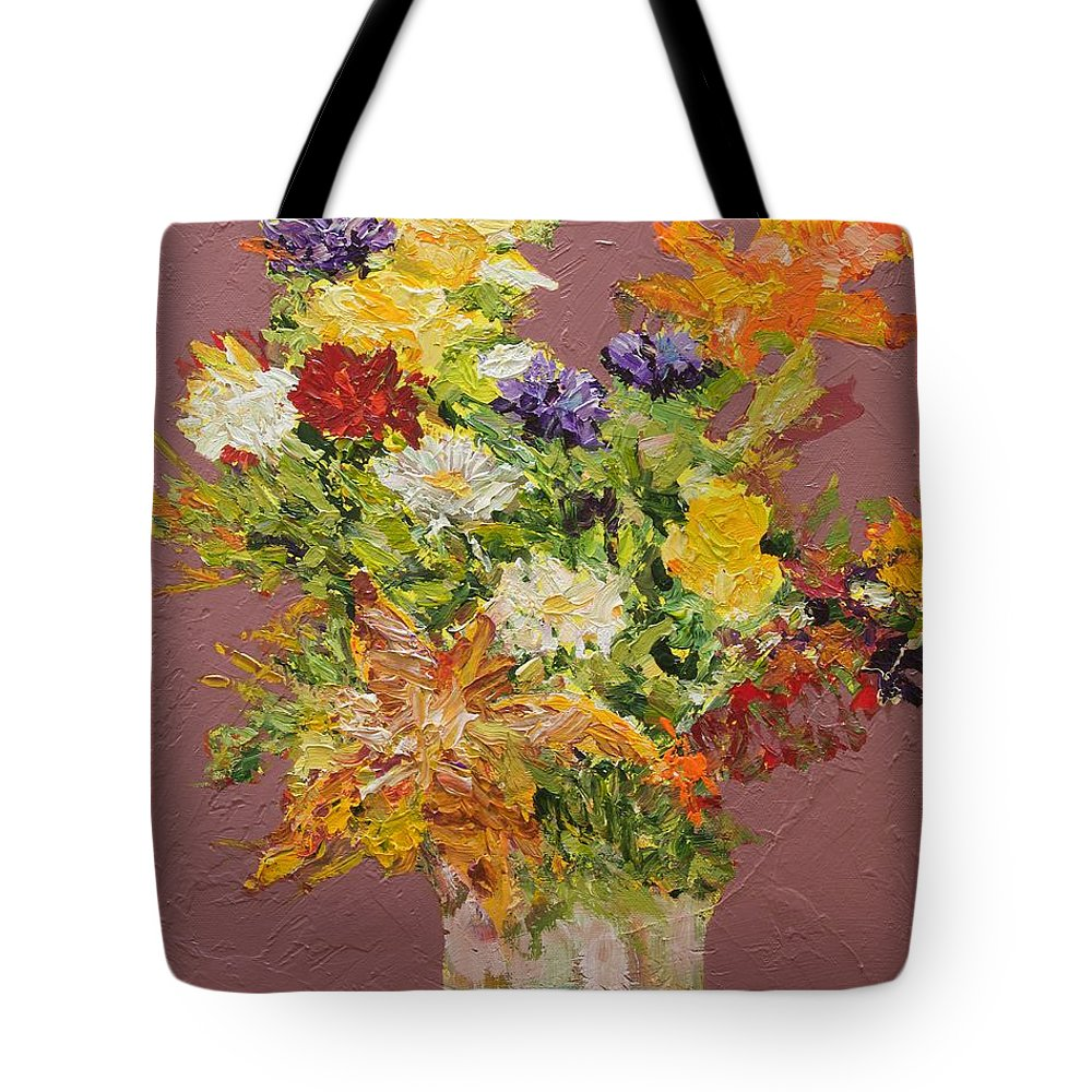Cut Flowers Tote Bag featuring the painting Giving Love by Allan P Friedlander