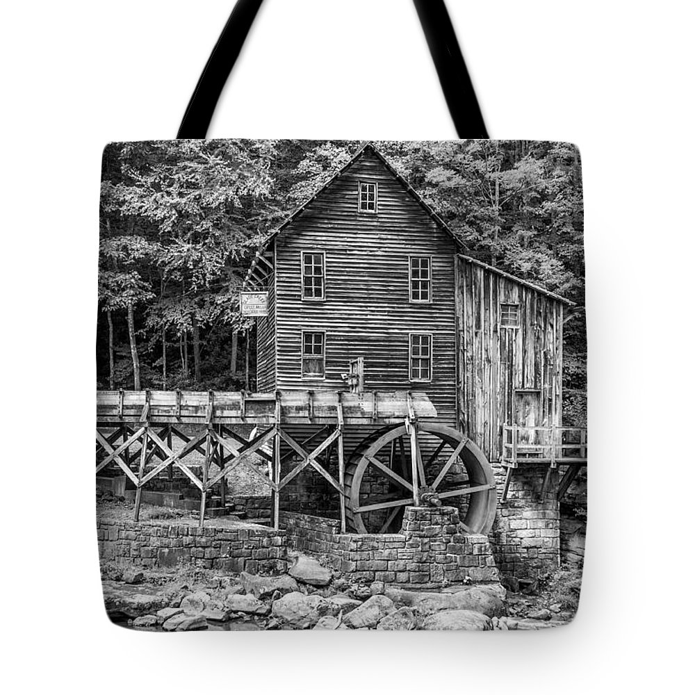 Glade Creek Tote Bag featuring the photograph Glade Creek Grist Mill Bw by Steve Harrington