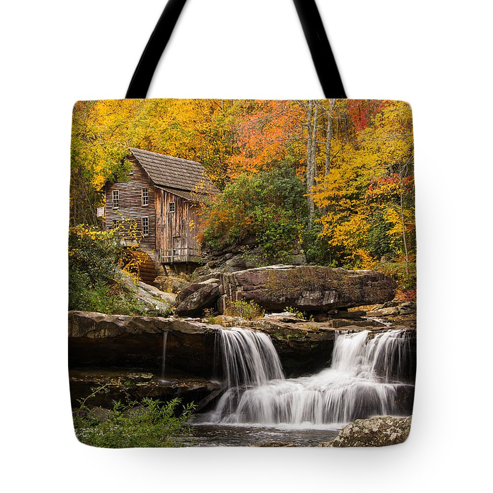 Rustic Tote Bag featuring the photograph Glade Creek Grist Mill by Gerald DeBoer