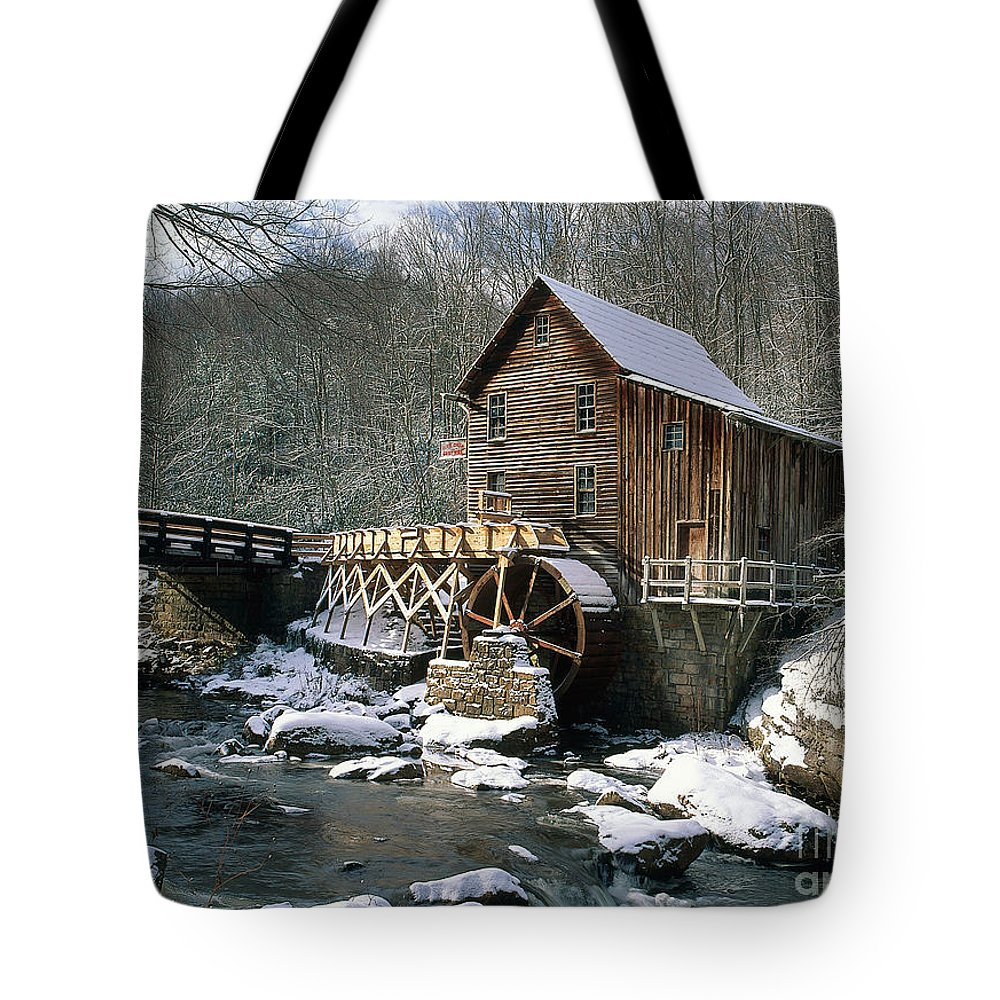 Winter Tote Bag featuring the photograph Glade Creek Grist Mill In West Virginia by David Davis