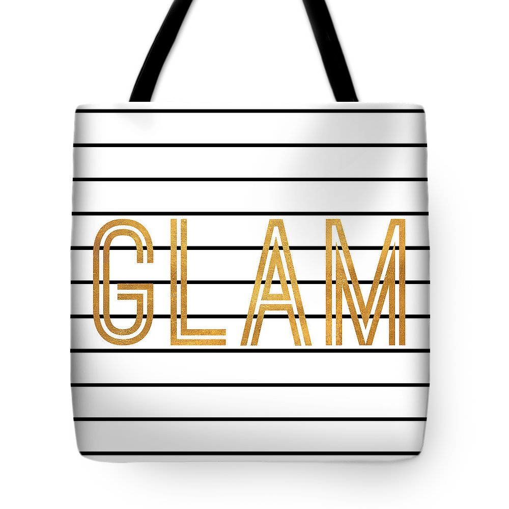 Glam Tote Bag featuring the digital art Glam Pinstripe Gold by South Social Studio