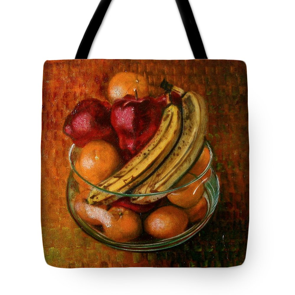 Still Life Tote Bag featuring the painting Glass Bowl Of Fruit by Sean Connolly