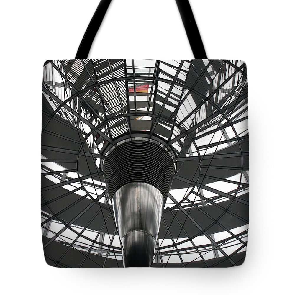 Glass Cupola Tote Bag featuring the photograph Glass Cupola - Reichstagsbuilding Berlin by Christiane Schulze Art And Photography