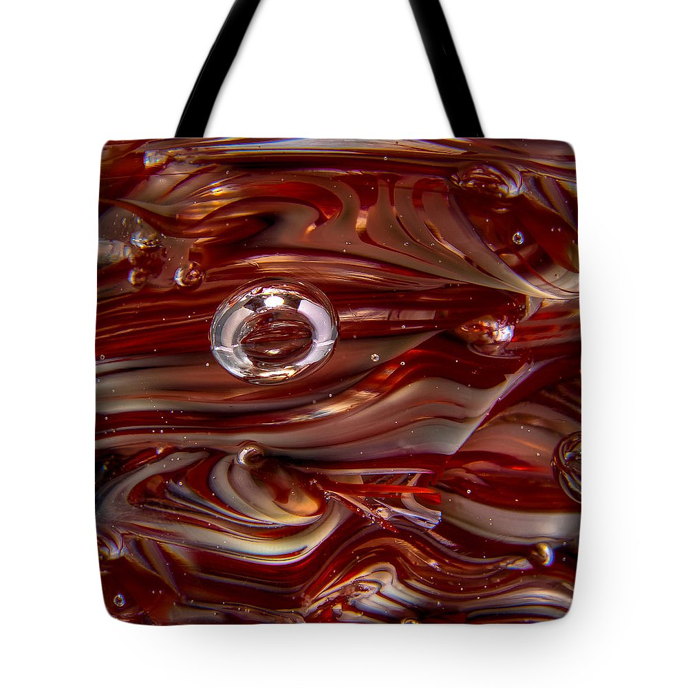 Glass Tote Bag featuring the photograph Glass Macro Abstract Crimson And Gray by David Patterson