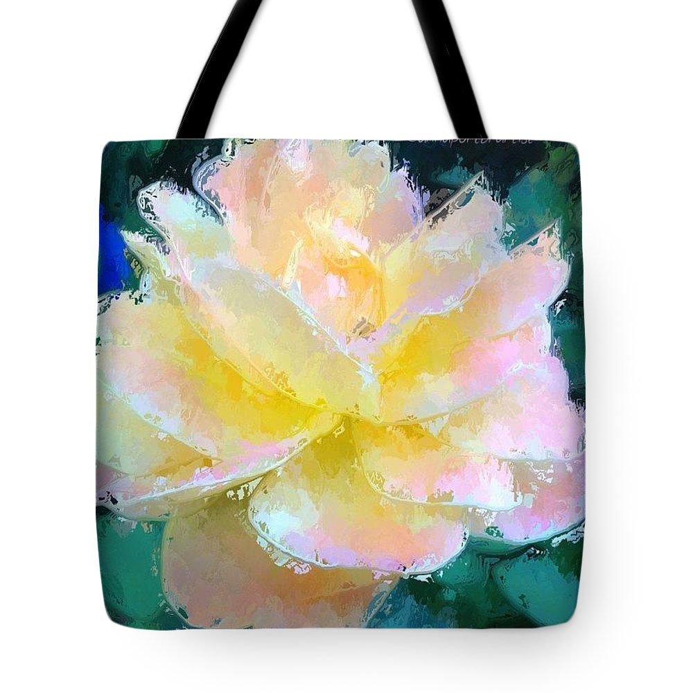 Glazed Tote Bag featuring the photograph Glazed Pale Pink And Yellow Rose by Anna Porter