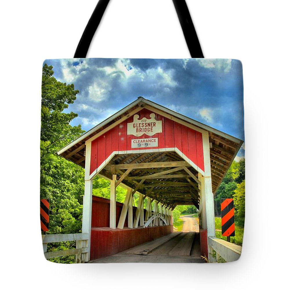 Covered Bridge Tote Bag featuring the photograph Glessner Covered Bridge by Adam Jewell