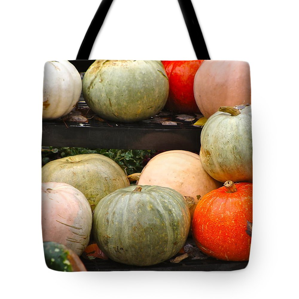 Fall Harvest Tote Bag featuring the photograph Glistening Gourds by Ira Shander