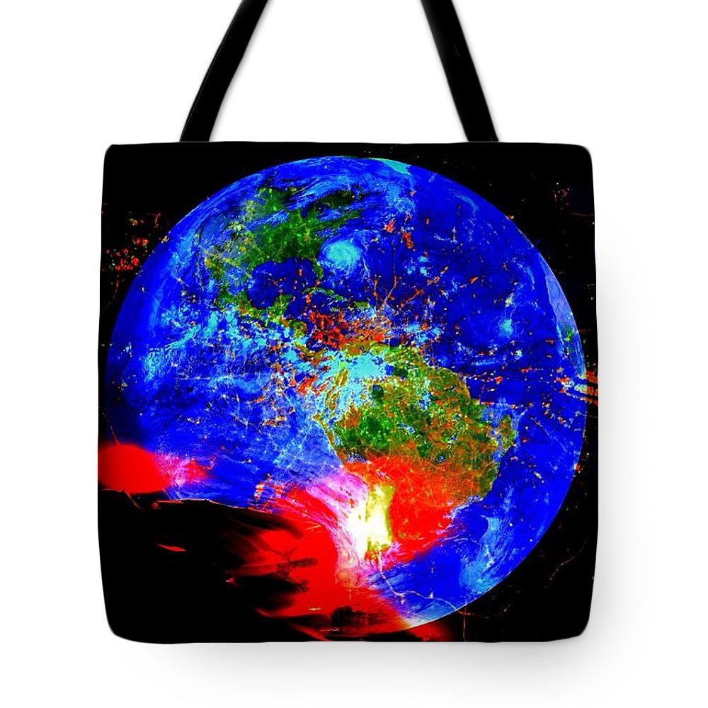 Global Warming Tote Bag featuring the digital art Global Warming by Saundra Myles