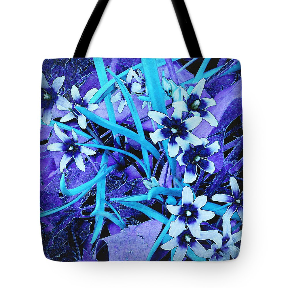 Chionodoxa Tote Bag featuring the photograph Glory Of The Snow - Violet And Turquoise by Shawna Rowe
