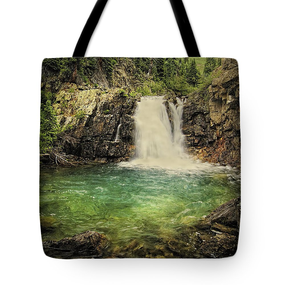 Waterfall Tote Bag featuring the photograph Glory Pool by Priscilla Burgers