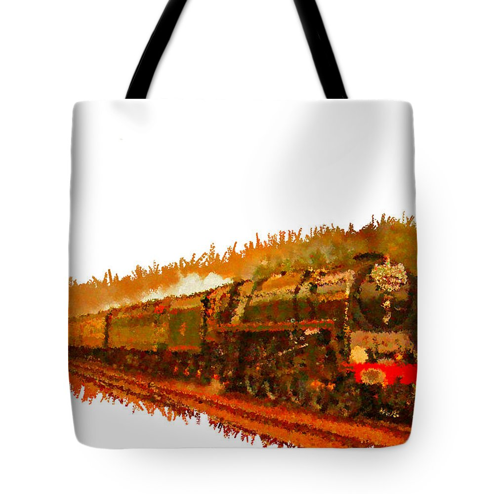 Gold Tote Bag featuring the painting Glory Train To Heaven by Bruce Nutting