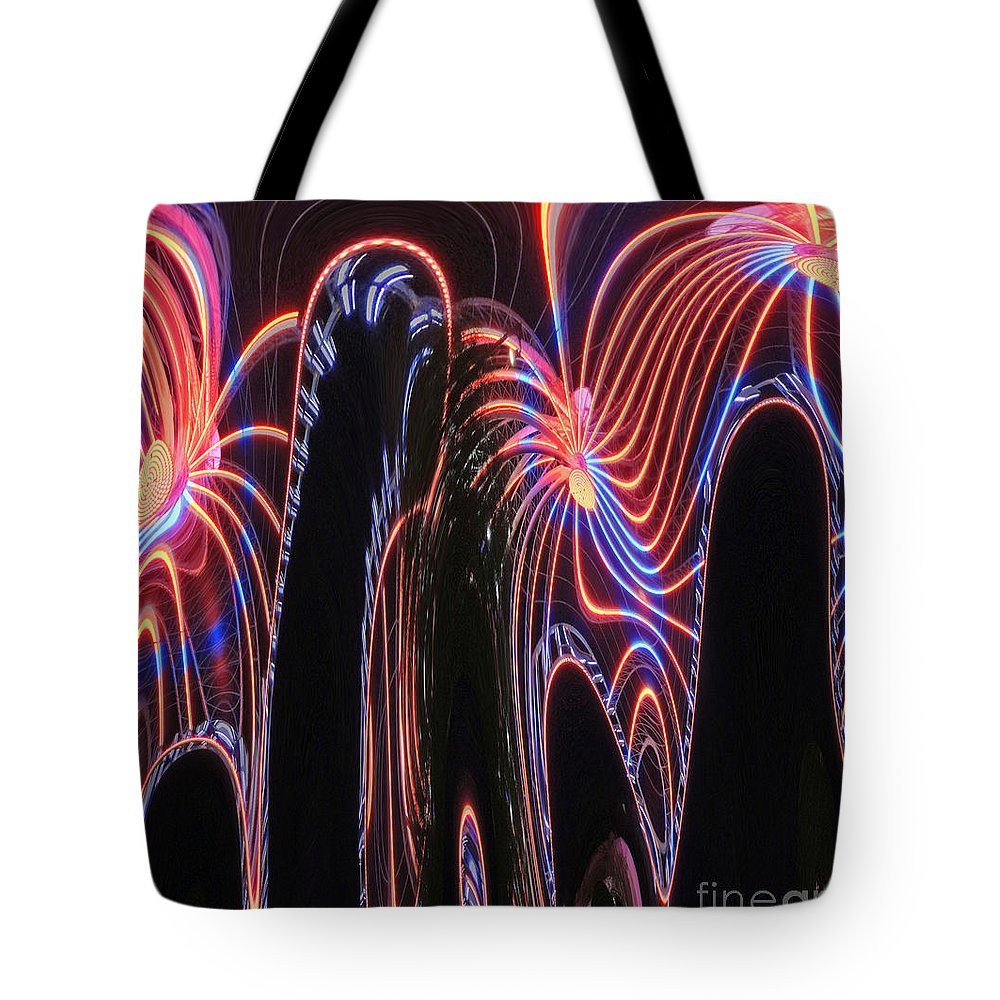 Digital Art Tote Bag featuring the photograph Glowing Curves by Marian Bell