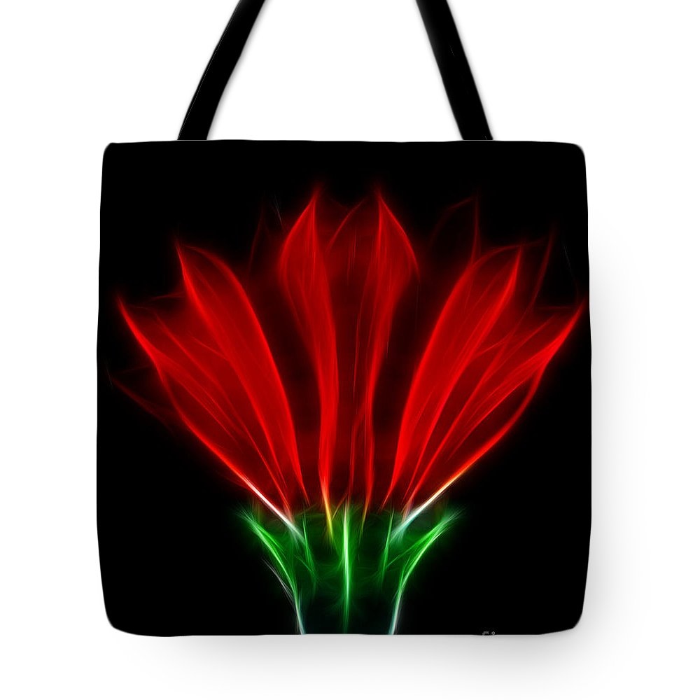 Flowers Tote Bag featuring the photograph Glowing Red by Ben Yassa