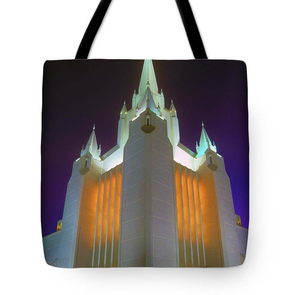 Mormon Tote Bag featuring the photograph Glowing Temple by Paul W Faust - Impressions of Light