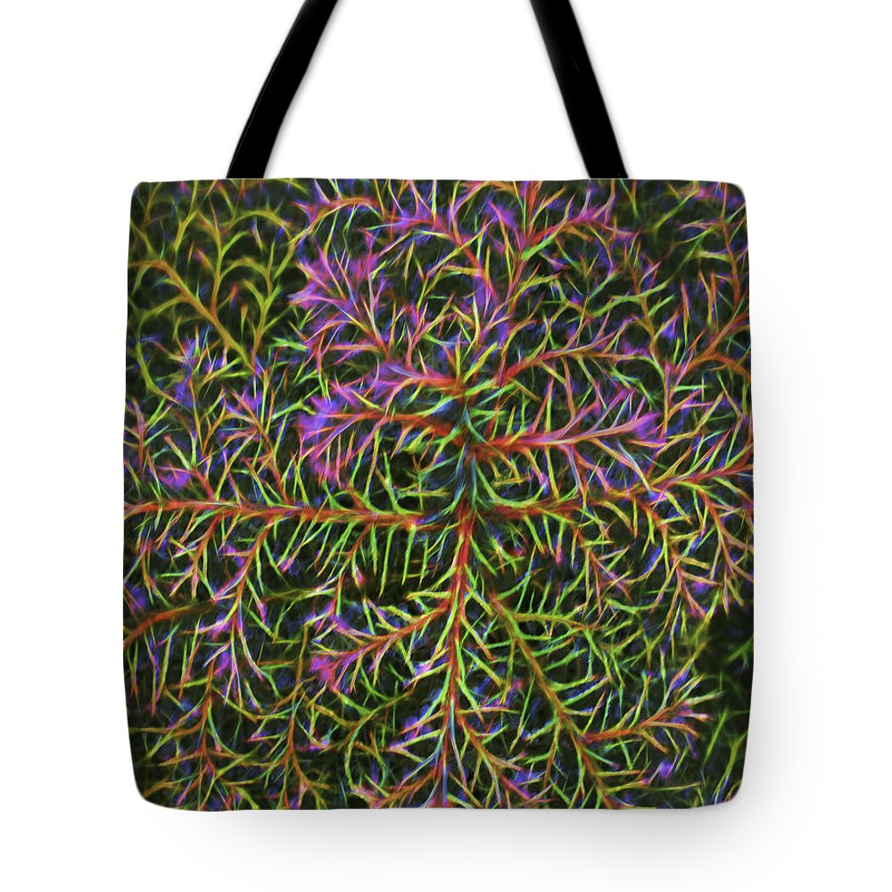 Tote Bag featuring the digital art Glowing Vines by Cathy Anderson