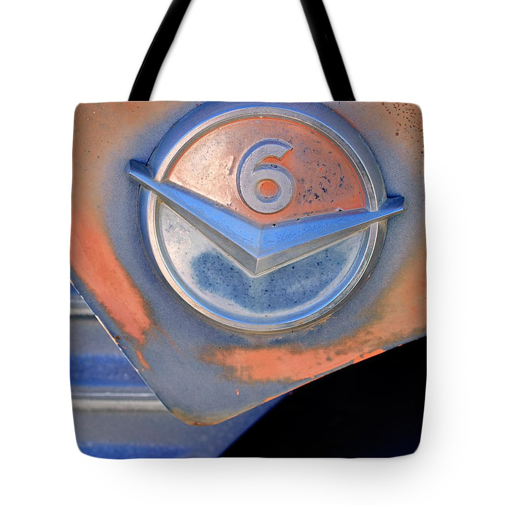Gmc 4000 V6 Pickup Truck Emblem Tote Bag featuring the photograph Gmc 4000 V6 Pickup Truck Emblem by Jill Reger