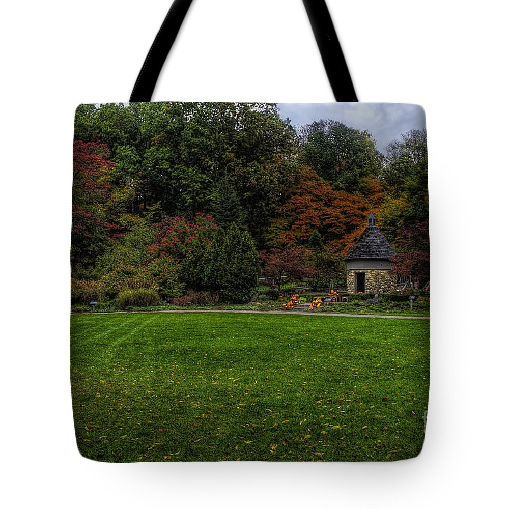 Garden Tote Bag featuring the photograph Gnomes Home by Scott Wood