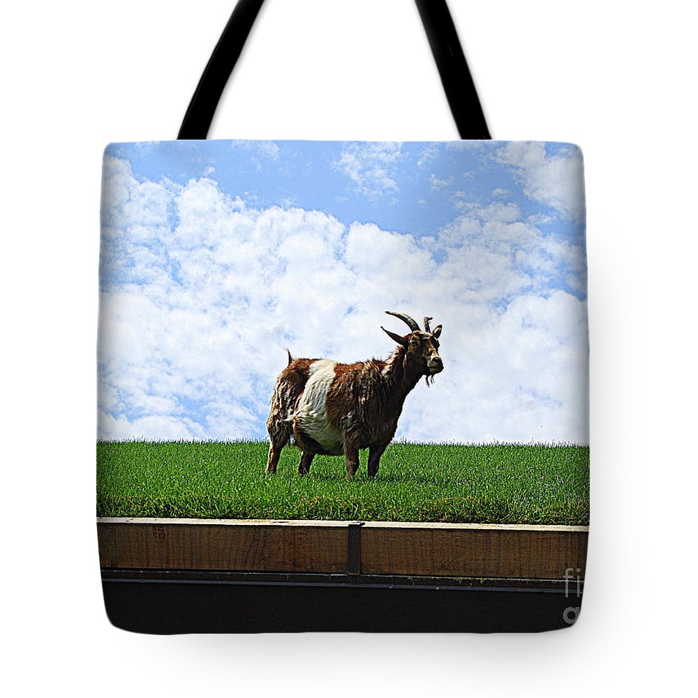 Goat On Roof Tote Bag featuring the photograph Goat On A Sod Roof In Sister Bay In Wisconsin by Catherine Sherman
