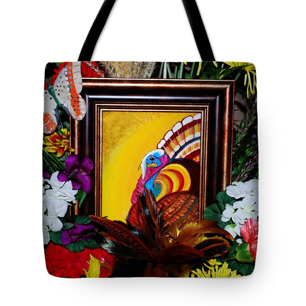 Thanksgiving Tote Bag featuring the painting Gobble Gobble by Adele Moscaritolo