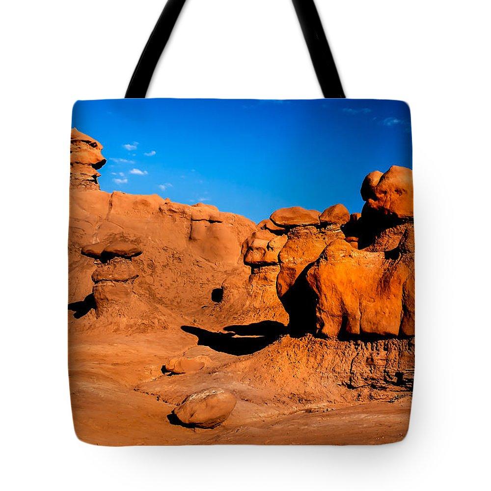 Goblin Valley Tote Bag featuring the photograph Goblin Hoodoos by Robert Bales