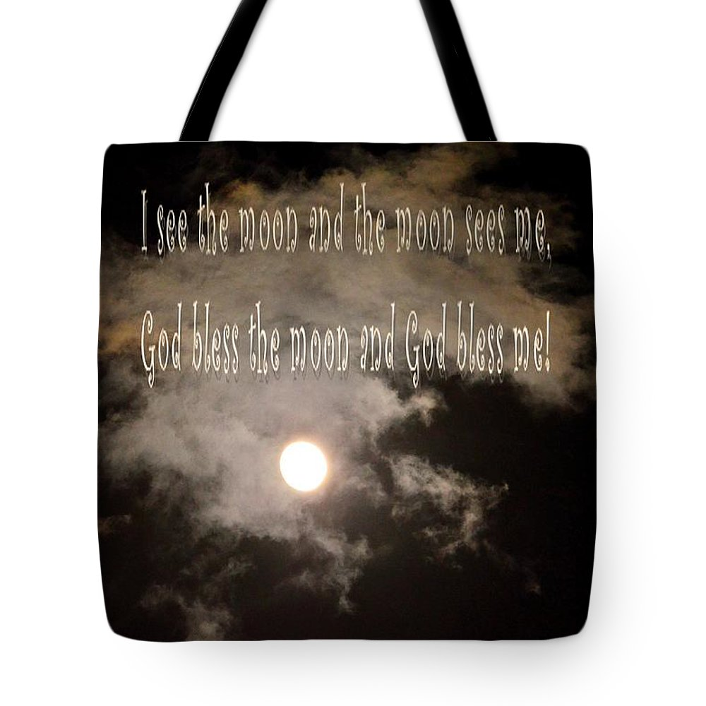 God Bless The Moon Tote Bag featuring the digital art God Bless The Moon by Maria Urso