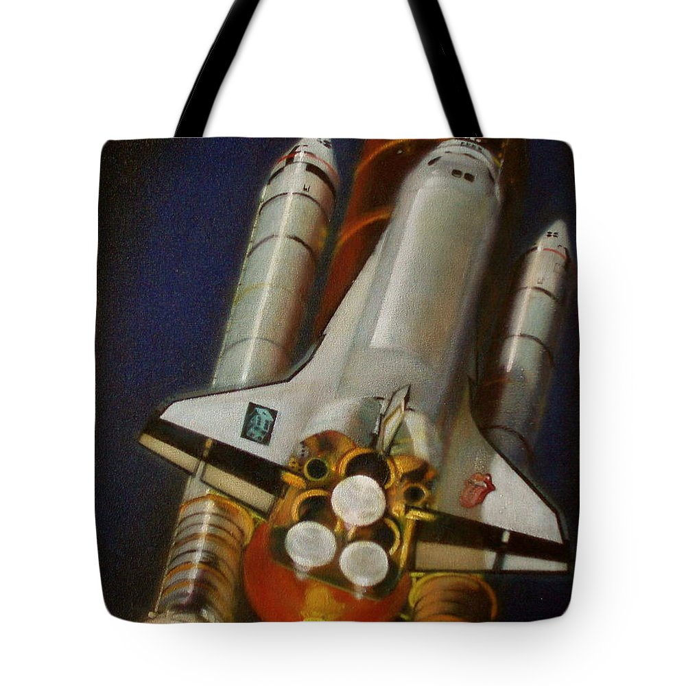 Space Shuttle;launch;liftoff;blastoff;rockets;engines;astronauts;spaceart;nasa;photorealism Tote Bag featuring the painting God Plays Dice by Sean Connolly