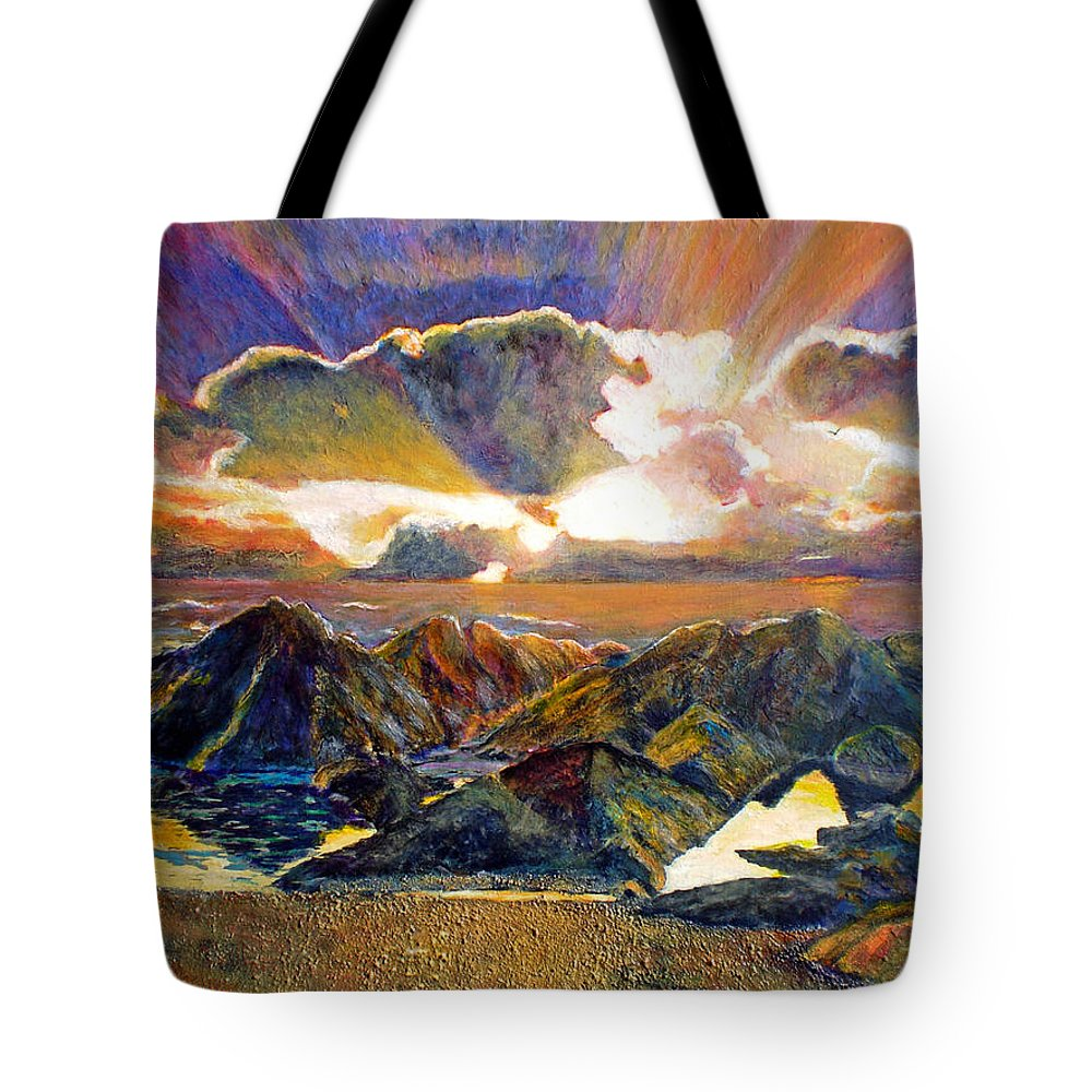 Seascape Tote Bag featuring the painting God Speaking by Michael Durst
