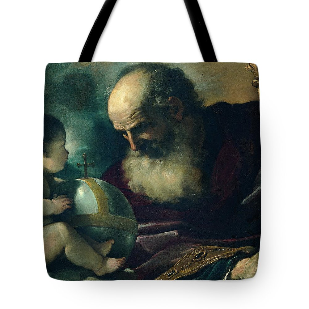 Guercino Tote Bag featuring the painting God The Father And Angel by Guercino