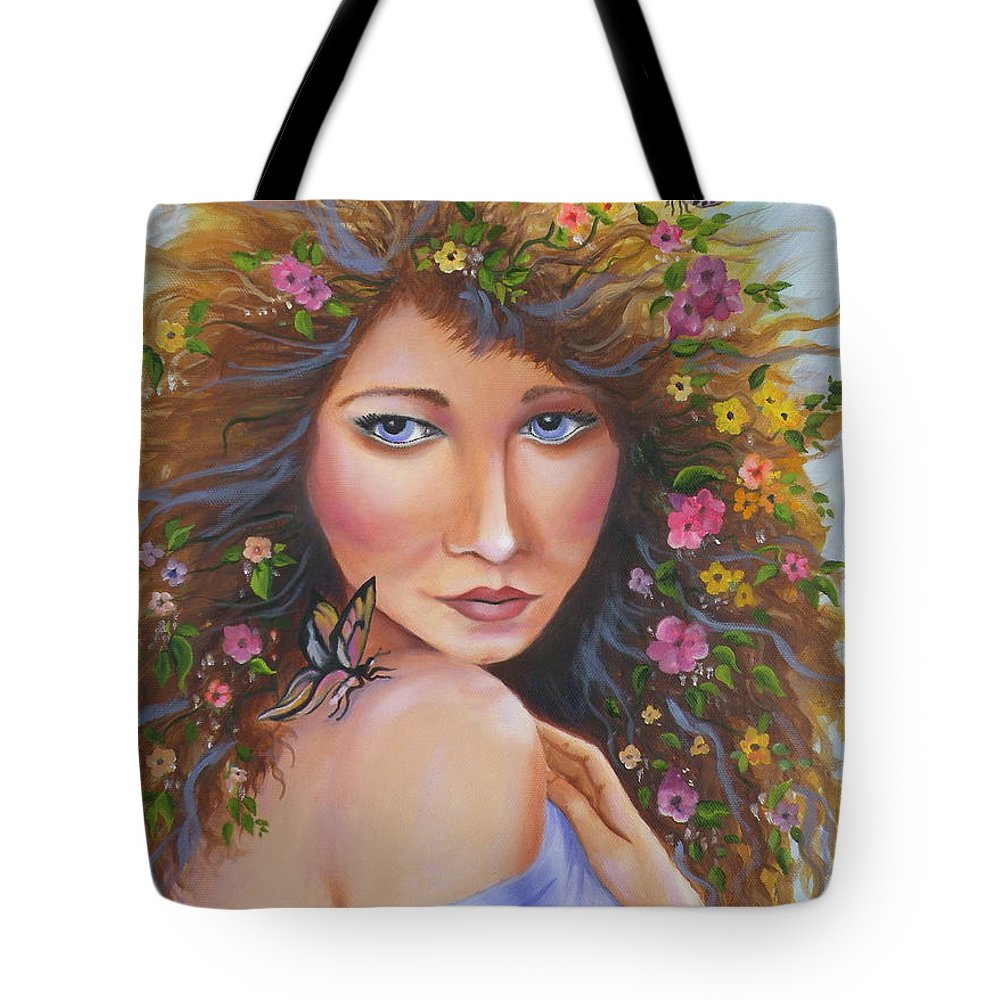 Woman Tote Bag featuring the painting Spring Beauty by Lora Duguay