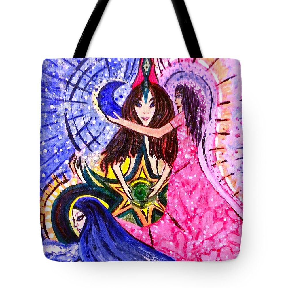 Goddess Tote Bag featuring the painting Goddess Trinity by Sara Gravely- Comstock