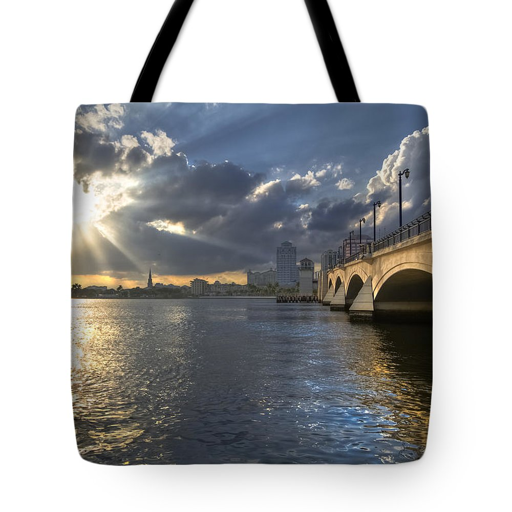 Clouds Tote Bag featuring the photograph God's Light Over West Palm Beach by Debra and Dave Vanderlaan