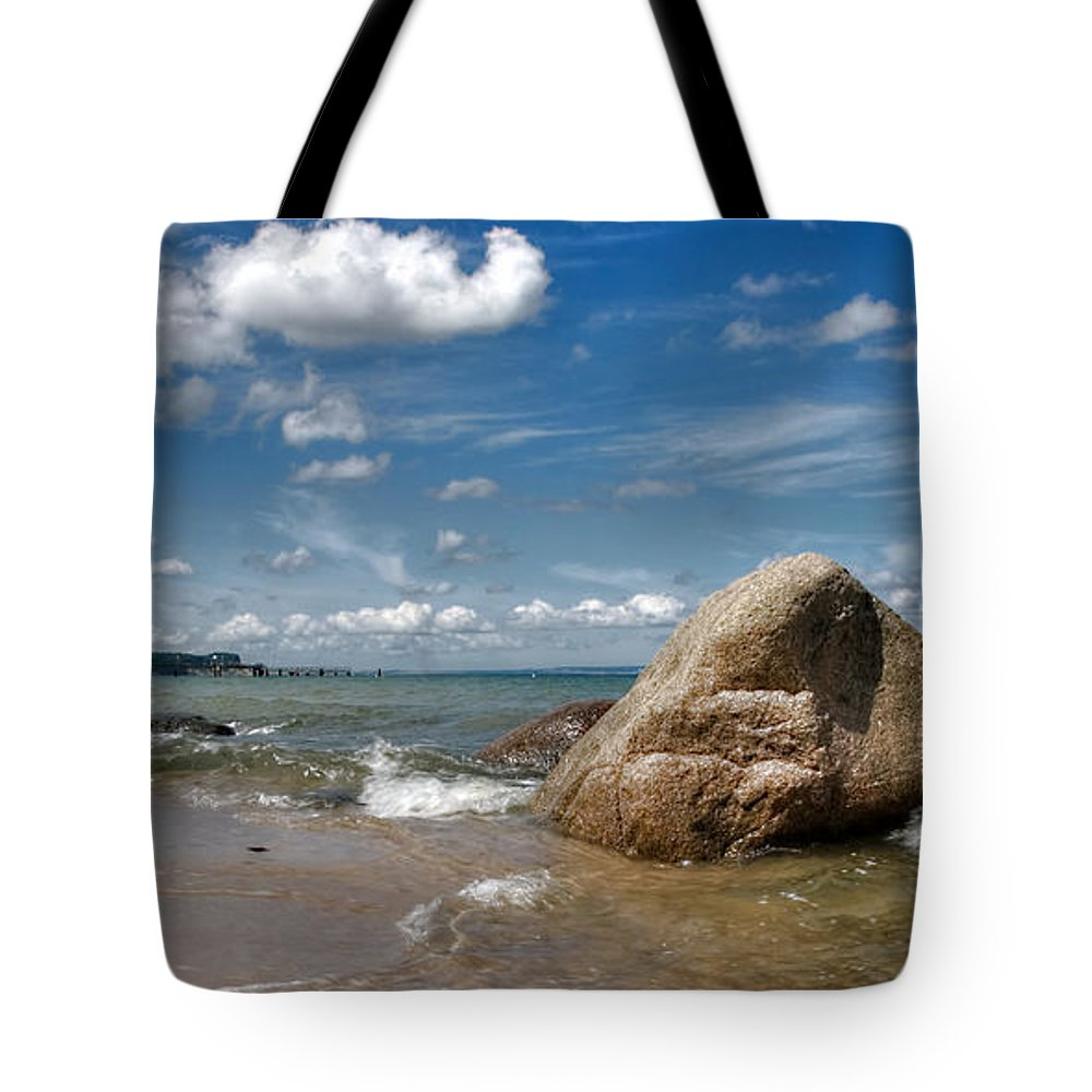 Ostsee Tote Bag featuring the pyrography Goehren by Steffen Gierok