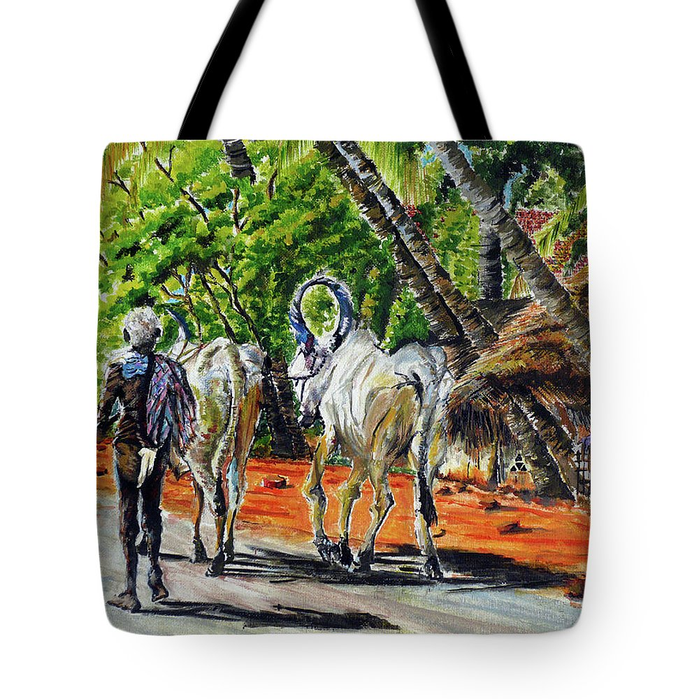 Tamilnadu Tote Bag featuring the painting Going Home After Bathing by Aparna Raghunathan
