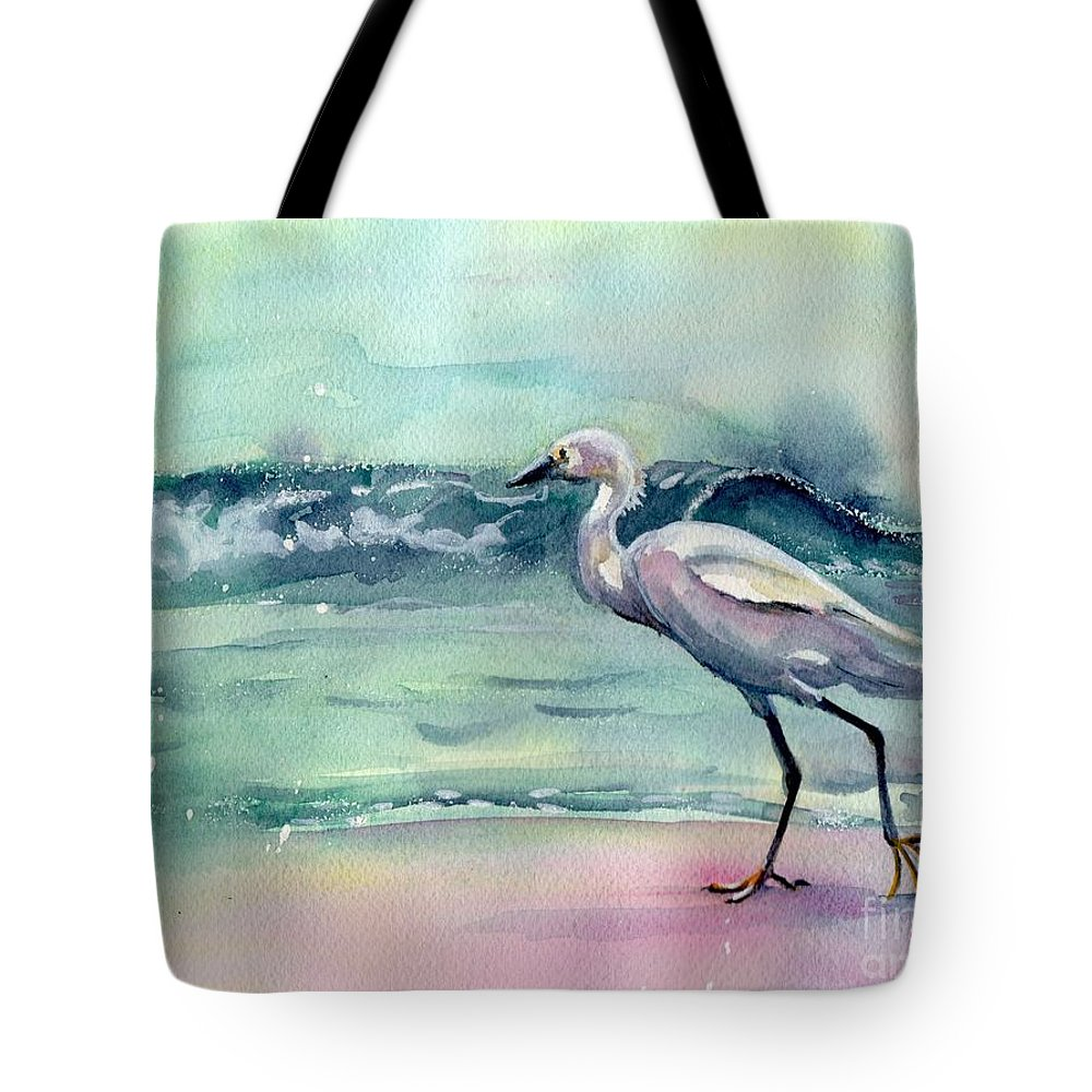 Egret Painting Tote Bag featuring the painting Going Home by Maria Reichert