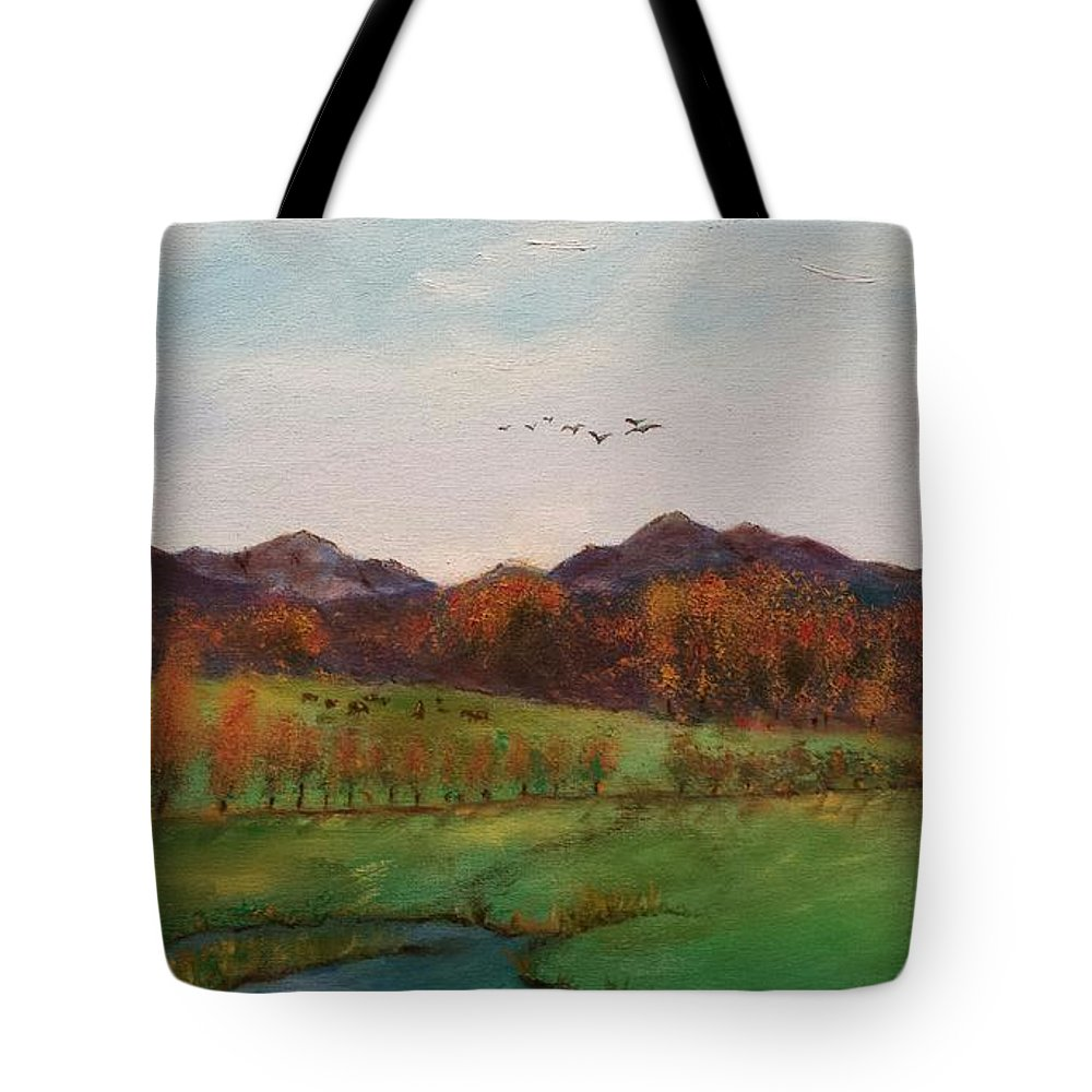 Mountains Tote Bag featuring the painting Going To The Cabin by Carol Lindquist