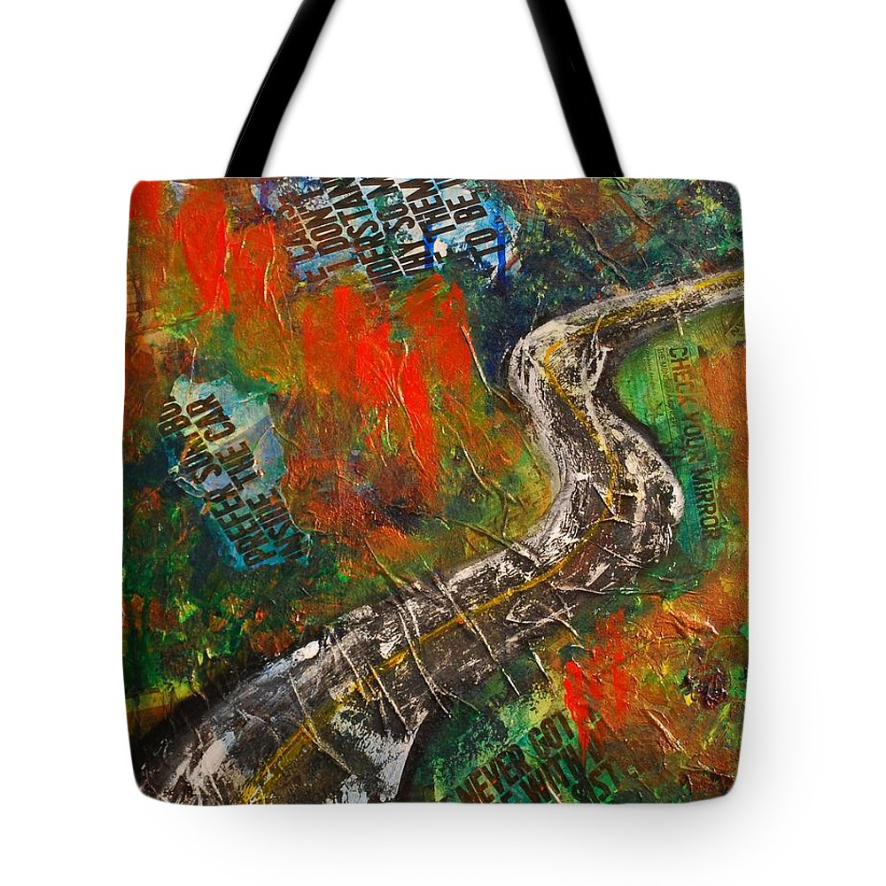 Road Tote Bag featuring the painting Going Where by Lisa Sharpe