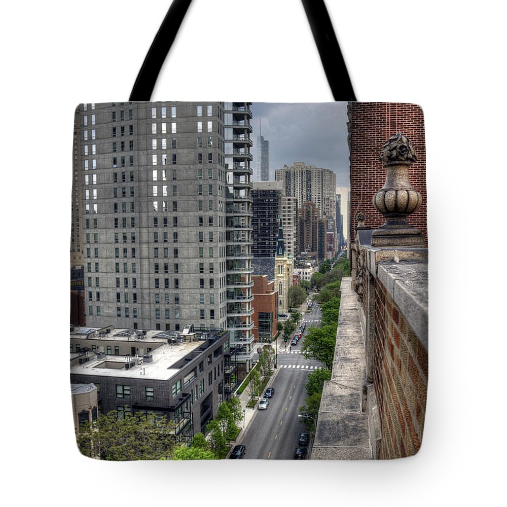 Skschicago Tote Bag featuring the photograph Gold Coast Rooftops by Steven K Sembach