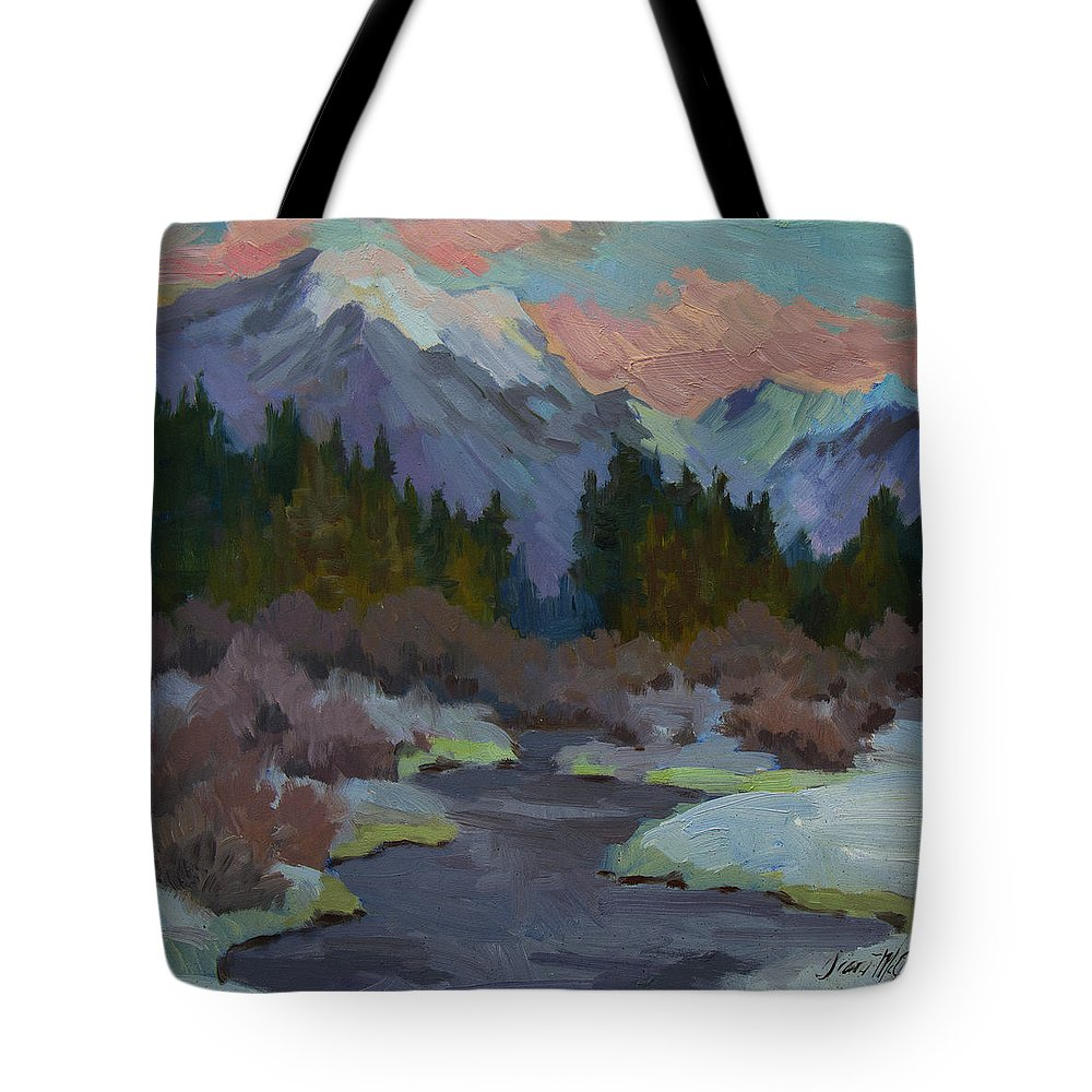 Gold Creek Tote Bag featuring the painting Gold Creek Snoqualmie Pass by Diane McClary
