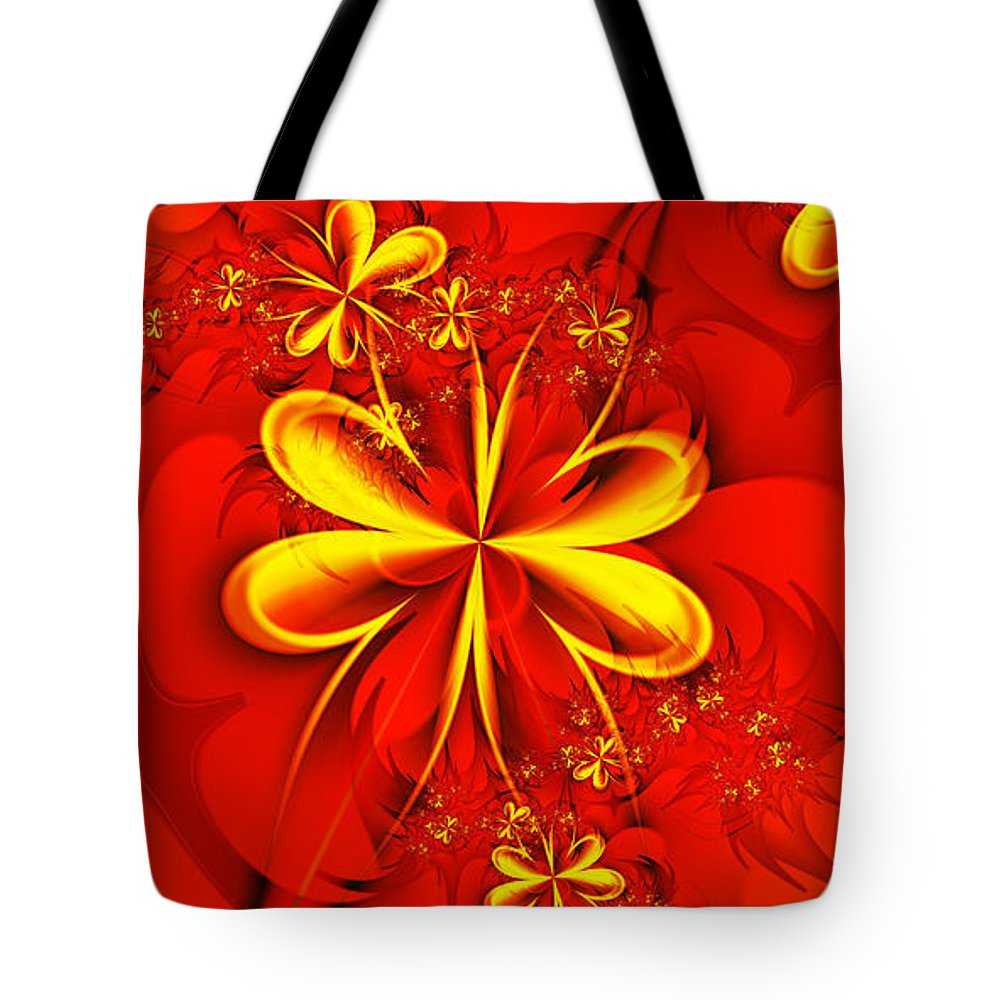 Digital Tote Bag featuring the digital art Gold Flowers by Lena Auxier
