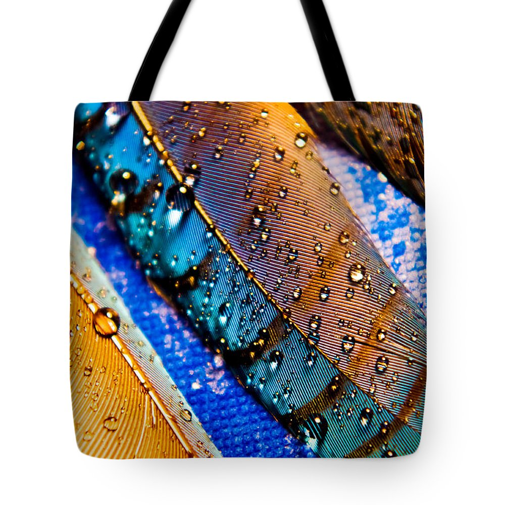 Adria Traill Tote Bag featuring the photograph Gold Jay Feathers by Adria Trail
