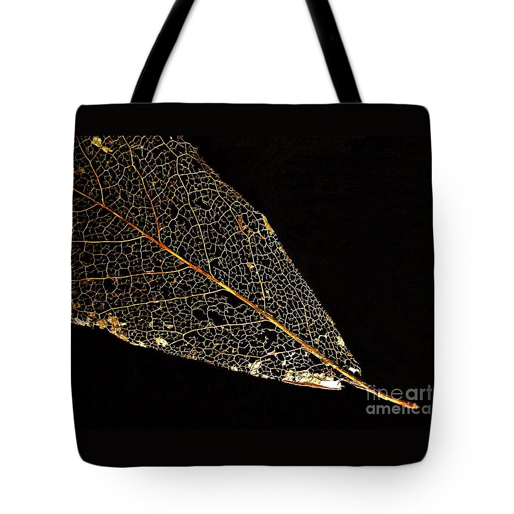 Leaf Tote Bag featuring the photograph Gold Leaf by Ann Horn