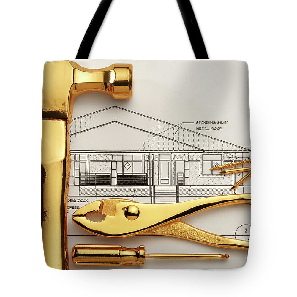 Plan Tote Bag featuring the photograph Gold Plated Tools And Blueprints by Dny59
