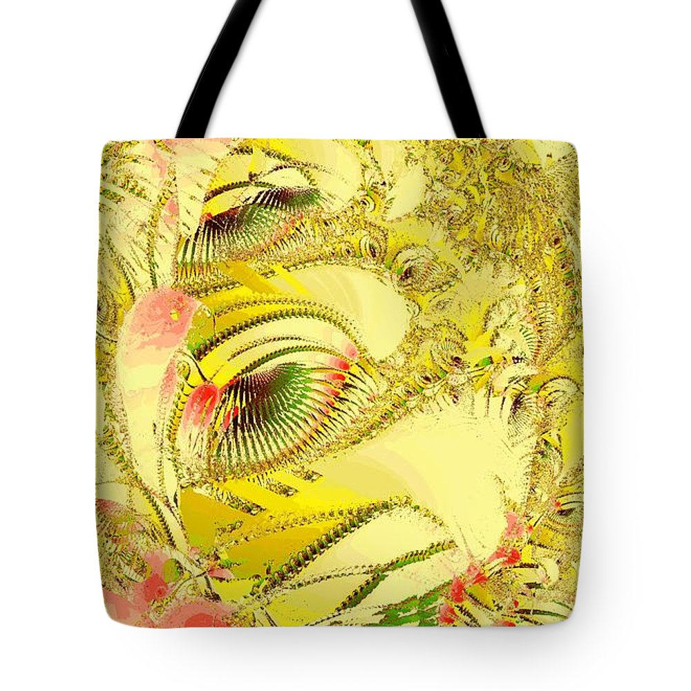 Abstract Tote Bag featuring the digital art Golden by Anastasiya Malakhova