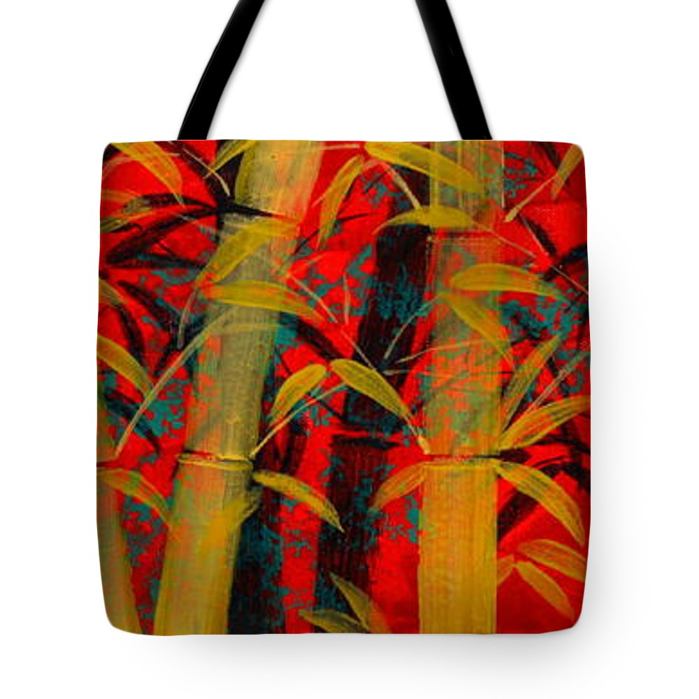 Bamboo Tote Bag featuring the painting Golden Bamboo by Mark Beach