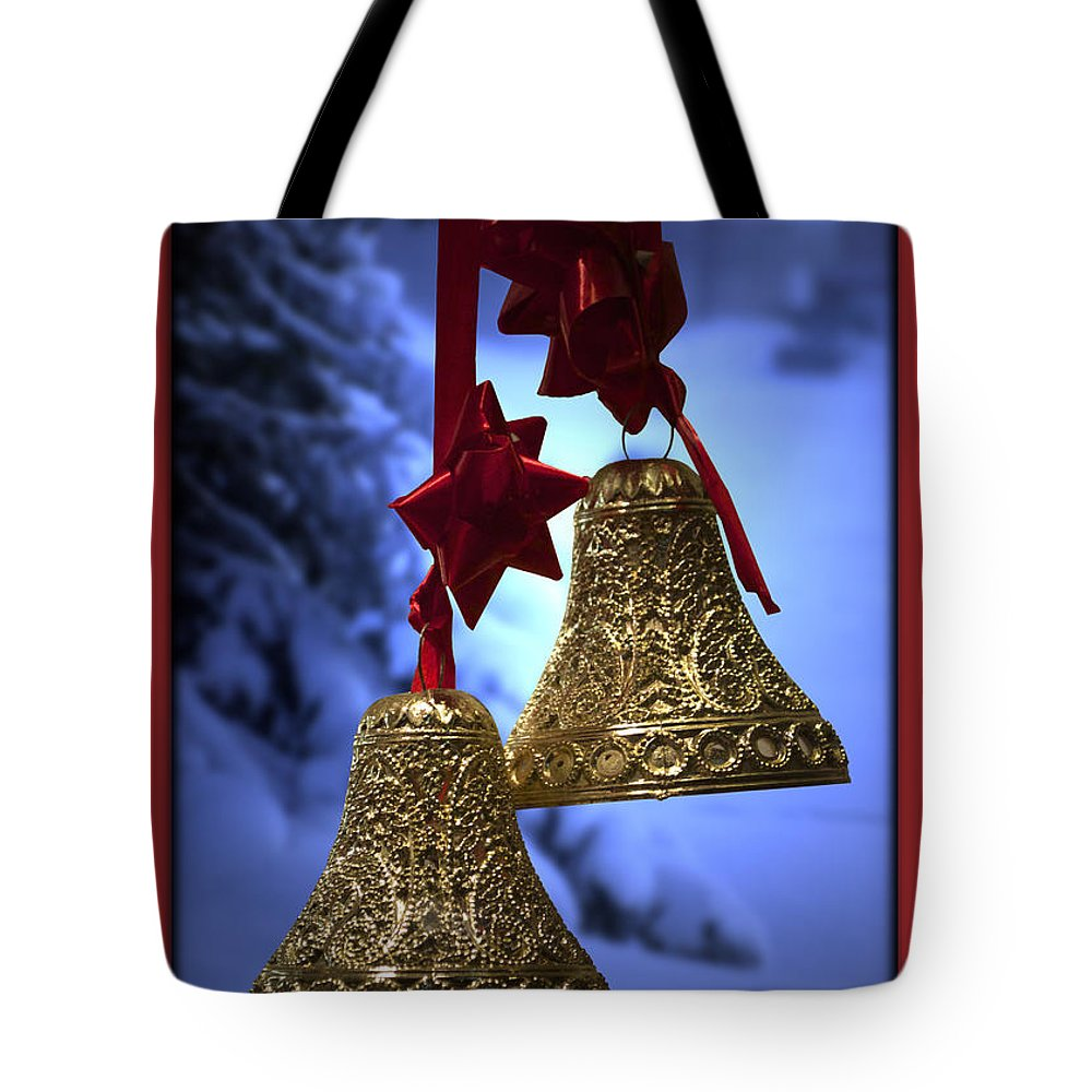 Red Tote Bag featuring the photograph Golden Bells Red Greeting Card by Thomas Woolworth