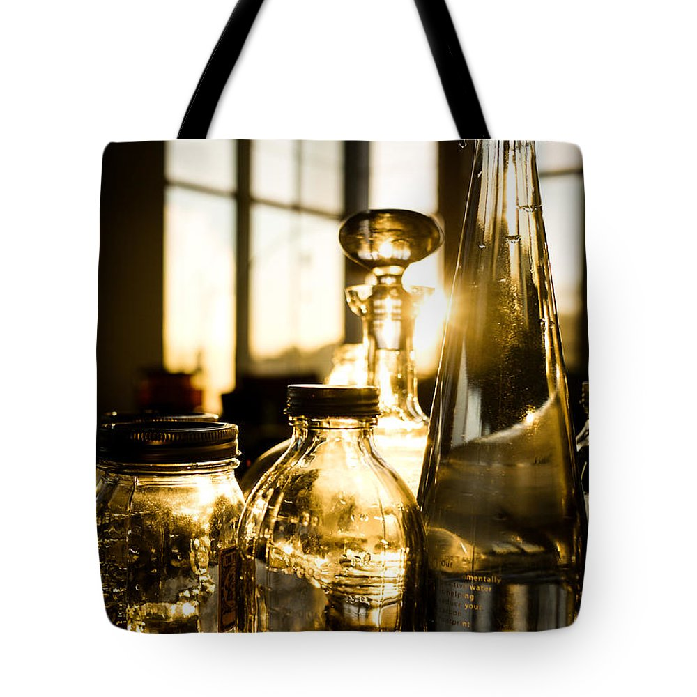 Glass Tote Bag featuring the photograph Golden Bottles And Mason Jars by Wei-San Ooi