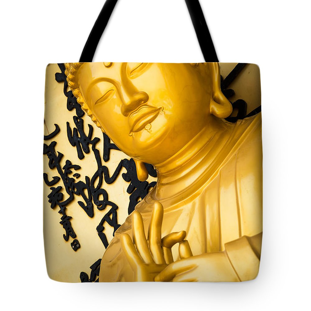Buddha Tote Bag featuring the photograph Golden Buddha Statue by Dutourdumonde Photography